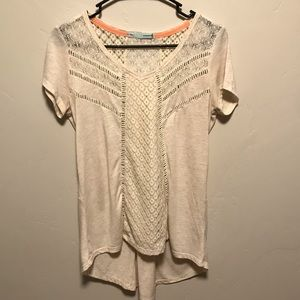 🌻Maurices Ivory Crochet Button Back Hi Lo Top
